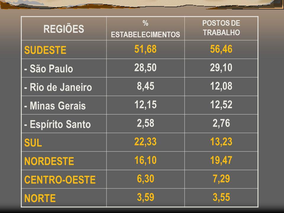 REGIÕES % ESTABELECIMENTOS POSTOS DE TRABALHO SUDESTE 51,6856,46 - São Paulo 28,5029,10 - Rio de Janeiro 8,4512,08 - Minas Gerais 12,1512,52 - Espírit