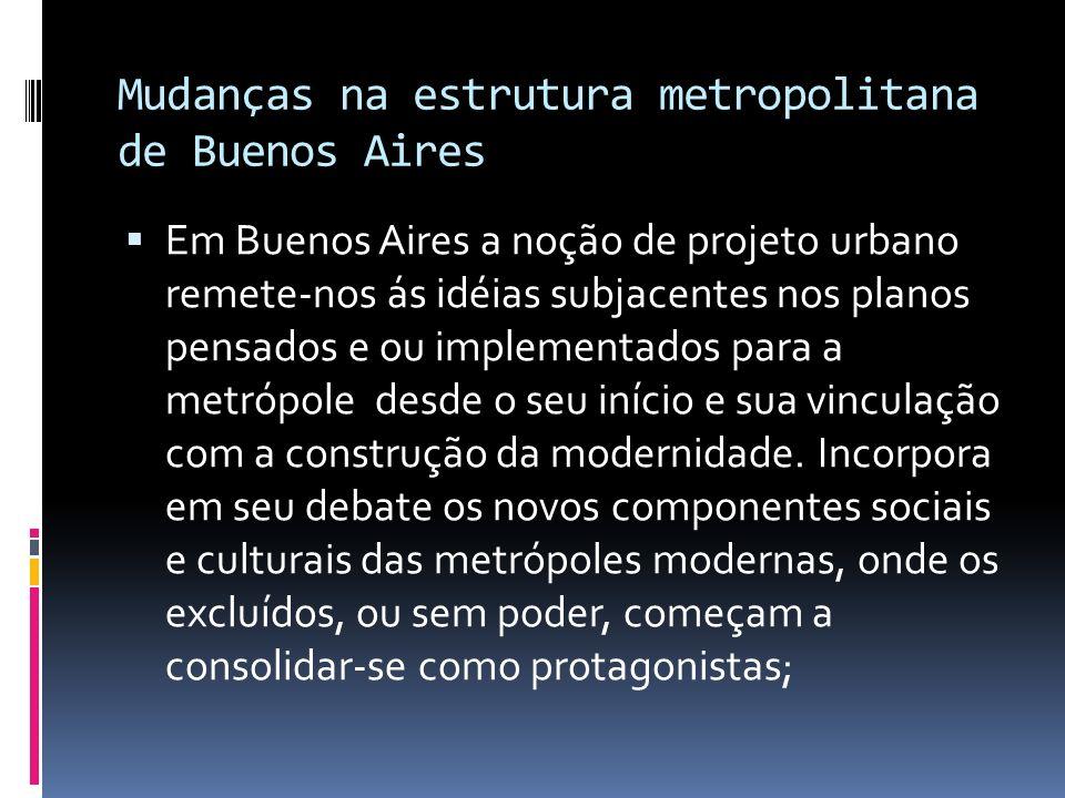 Mudanças na estrutura metropolitana de Buenos Aires Em Buenos Aires a noção de projeto urbano remete-nos ás idéias subjacentes nos planos pensados e o