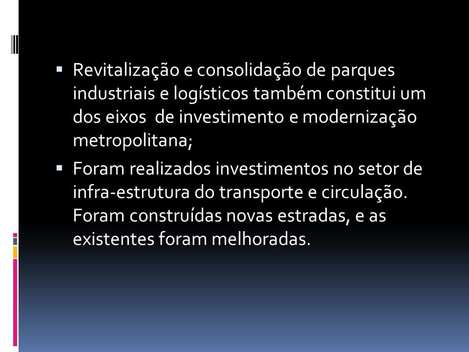 Revitalização e consolidação de parques industriais e logísticos também constitui um dos eixos de investimento e modernização metropolitana; Foram rea