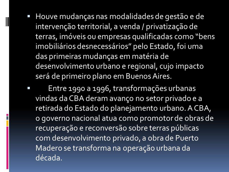 Houve mudanças nas modalidades de gestão e de intervenção territorial, a venda / privatização de terras, imóveis ou empresas qualificadas como bens im