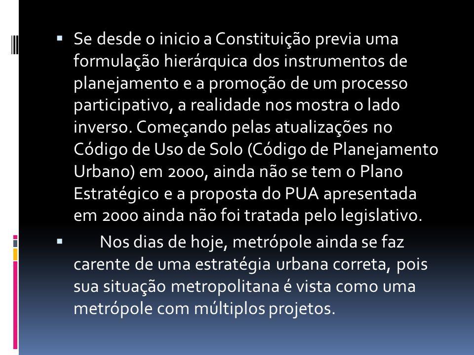 Se desde o inicio a Constituição previa uma formulação hierárquica dos instrumentos de planejamento e a promoção de um processo participativo, a reali