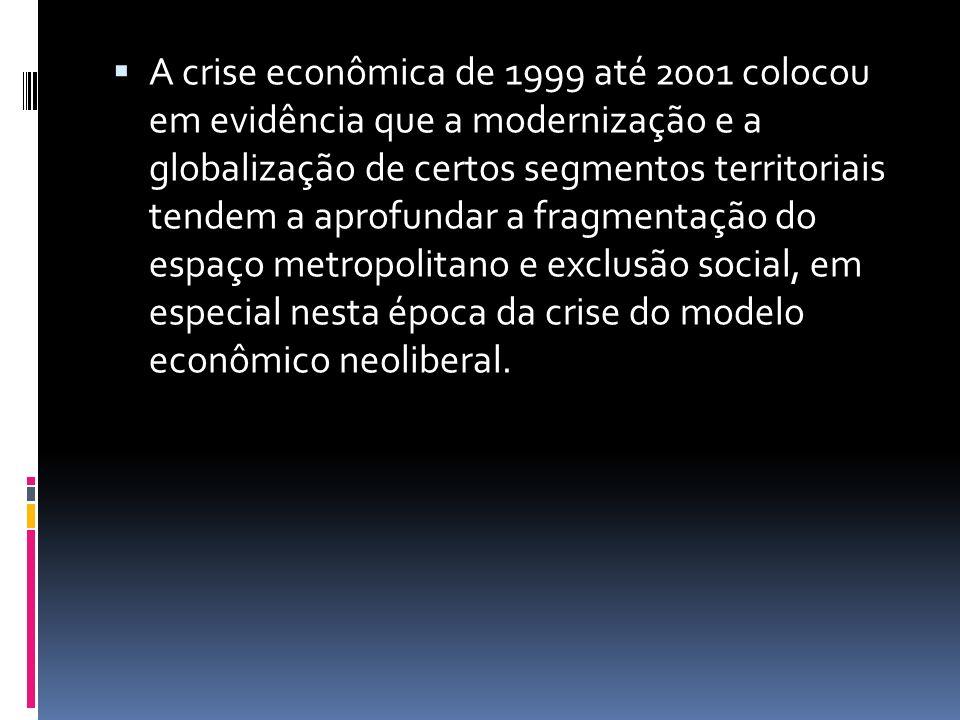 A crise econômica de 1999 até 2001 colocou em evidência que a modernização e a globalização de certos segmentos territoriais tendem a aprofundar a fra