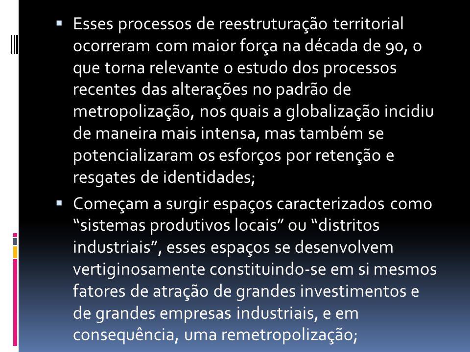 Esses processos de reestruturação territorial ocorreram com maior força na década de 90, o que torna relevante o estudo dos processos recentes das alt
