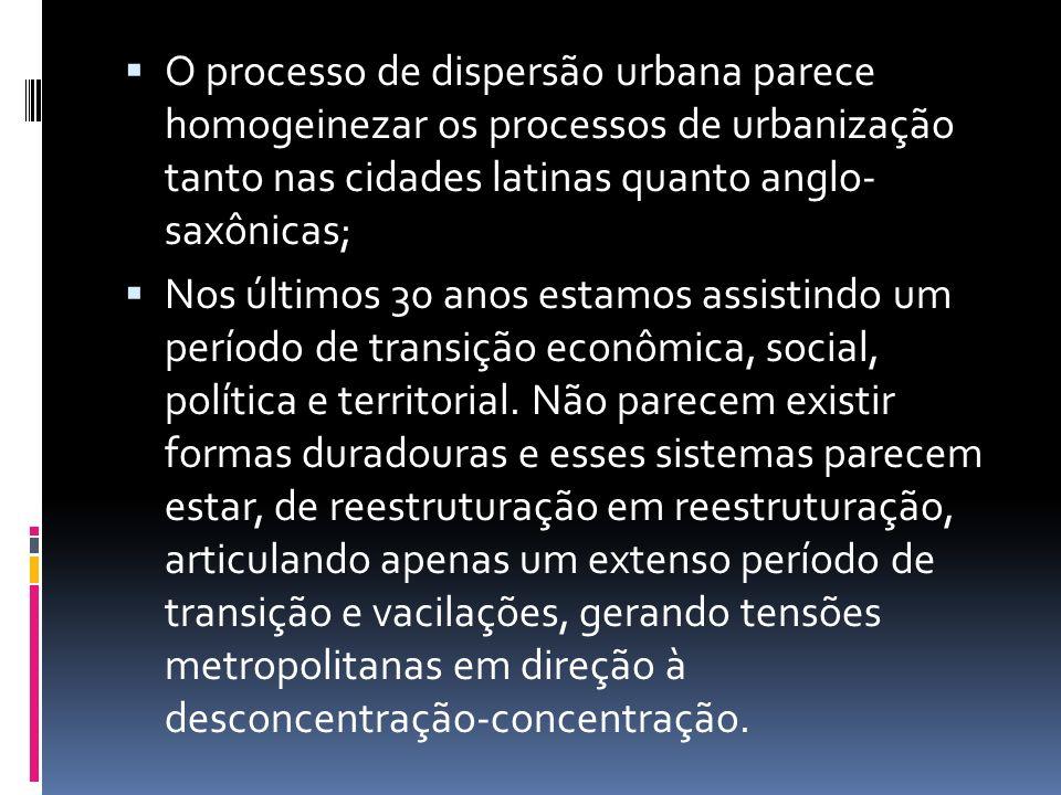 O processo de dispersão urbana parece homogeinezar os processos de urbanização tanto nas cidades latinas quanto anglo- saxônicas; Nos últimos 30 anos