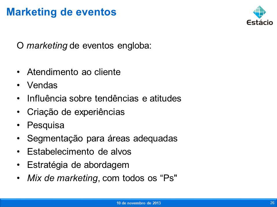 O marketing de eventos engloba: Atendimento ao cliente Vendas Influência sobre tendências e atitudes Criação de experiências Pesquisa Segmentação para