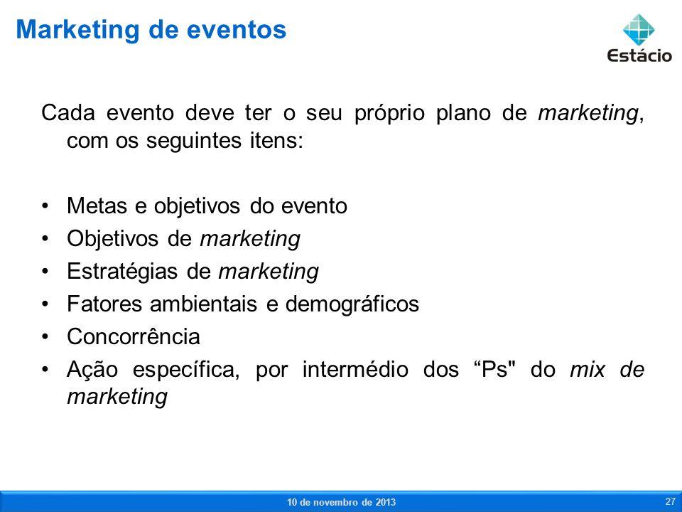 Cada evento deve ter o seu próprio plano de marketing, com os seguintes itens: Metas e objetivos do evento Objetivos de marketing Estratégias de marke