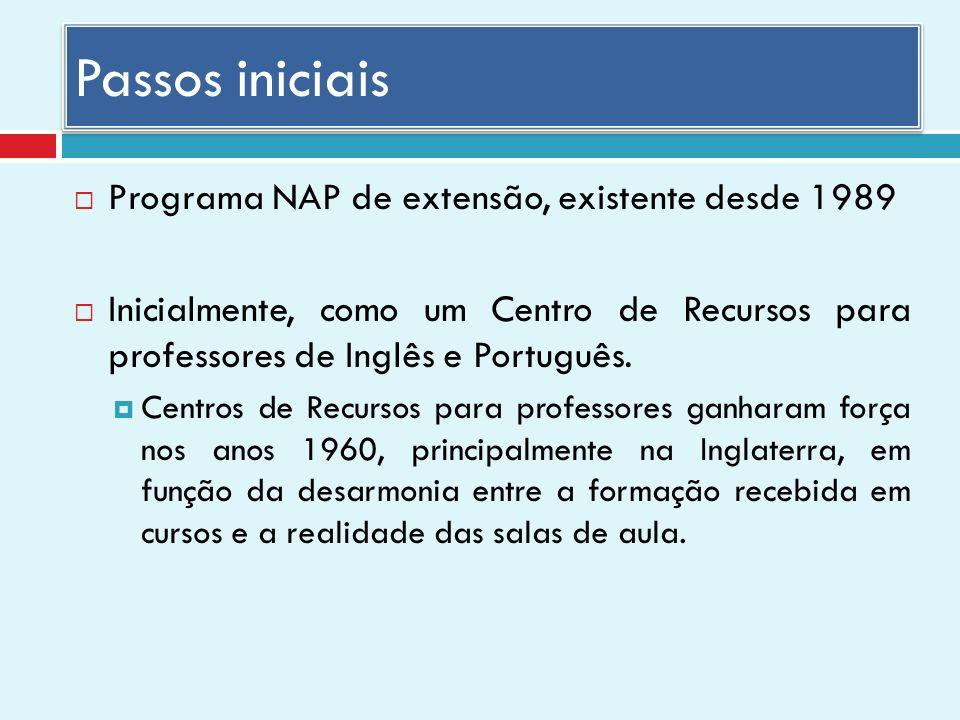 Passos iniciais Programa NAP de extensão, existente desde 1989 Inicialmente, como um Centro de Recursos para professores de Inglês e Português.