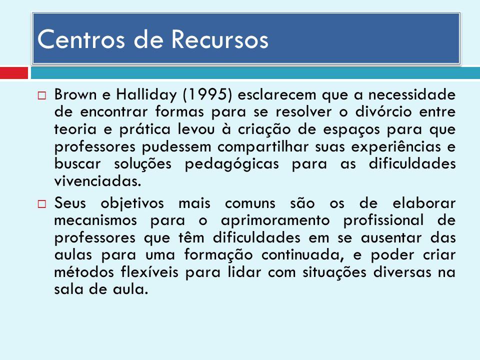 Centros de Recursos Brown e Halliday (1995) esclarecem que a necessidade de encontrar formas para se resolver o divórcio entre teoria e prática levou à criação de espaços para que professores pudessem compartilhar suas experiências e buscar soluções pedagógicas para as dificuldades vivenciadas.