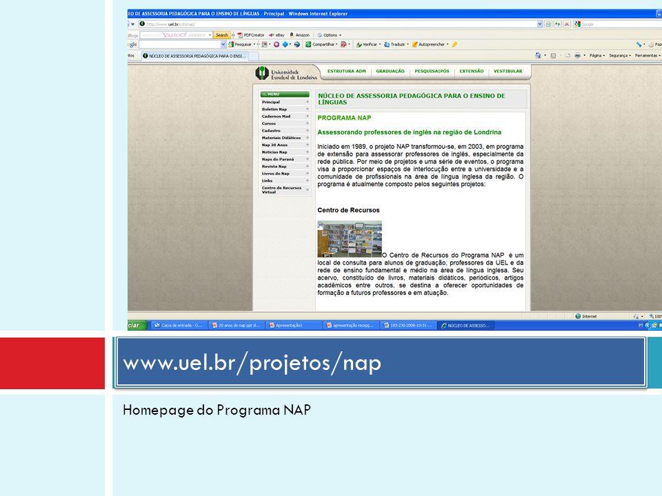 Homepage do Programa NAP www.uel.br/projetos/nap