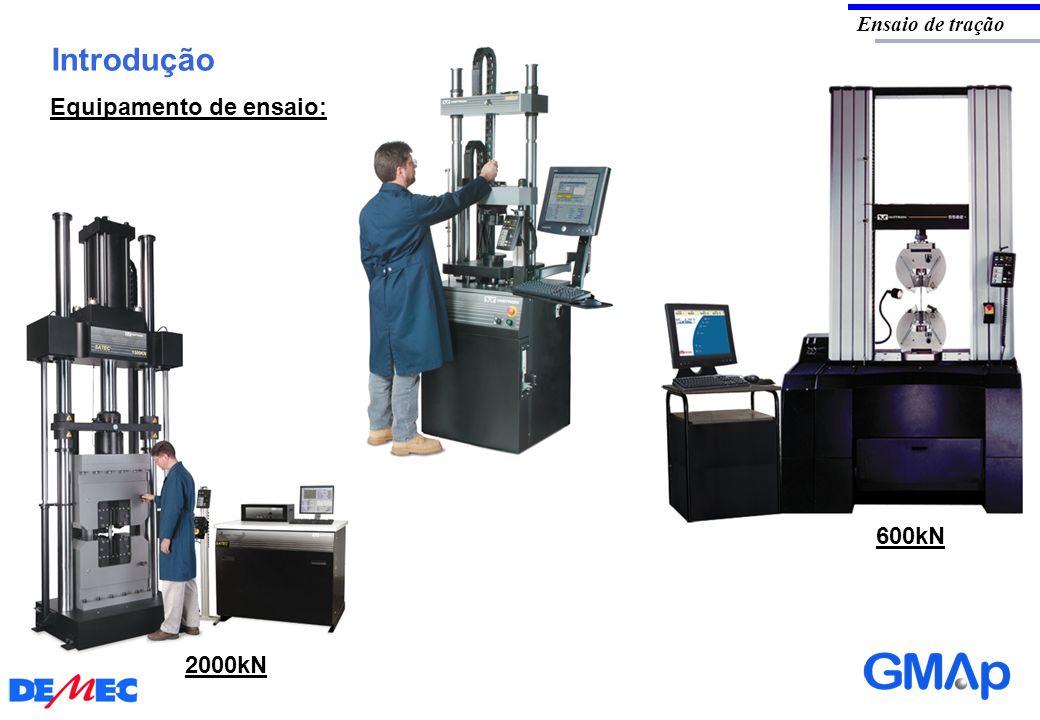 Introdução Ensaio de tração Equipamento de ensaio: 600kN 2000kN