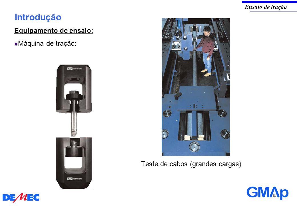 Introdução Ensaio de tração Equipamento de ensaio: Máquina de tração: Teste de cabos (grandes cargas)