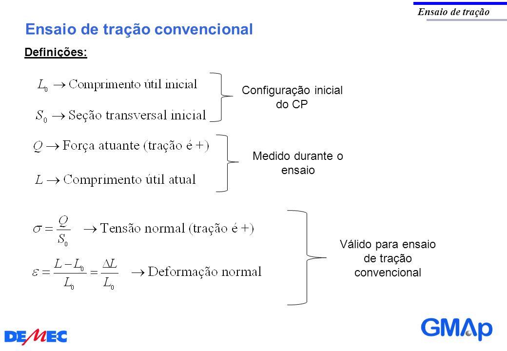 Ensaio de tração convencional Ensaio de tração Definições: Válido para ensaio de tração convencional Medido durante o ensaio Configuração inicial do C