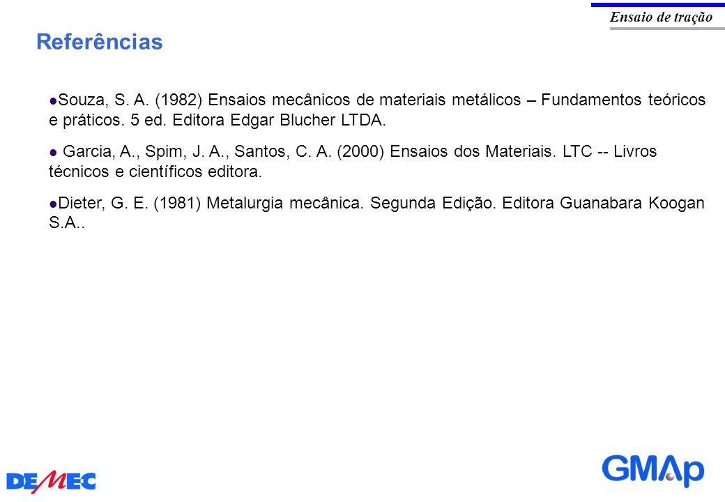 Referências Ensaio de tração Souza, S. A. (1982) Ensaios mecânicos de materiais metálicos – Fundamentos teóricos e práticos. 5 ed. Editora Edgar Bluch