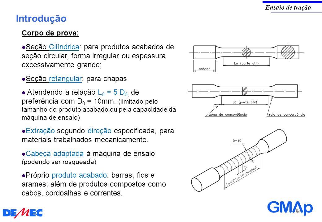 Introdução Ensaio de tração Corpo de prova: Seção Cilíndrica: para produtos acabados de seção circular, forma irregular ou espessura excessivamente gr