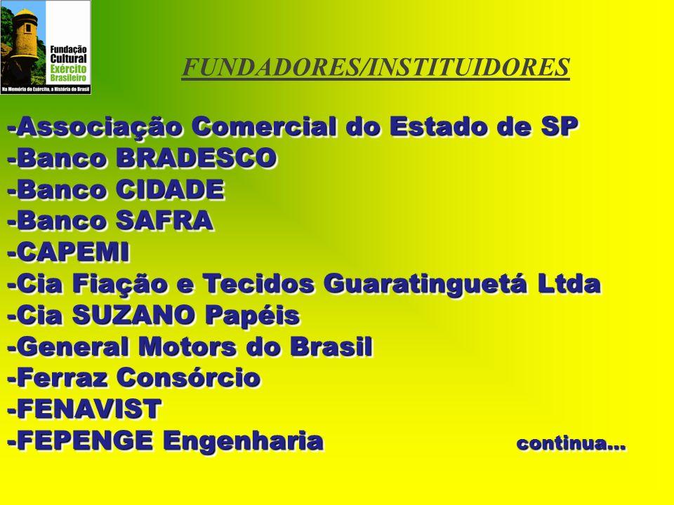 FUNDADORES/INSTITUIDORES -Associação Comercial do Estado de SP -Banco BRADESCO -Banco CIDADE -Banco SAFRA -CAPEMI -Cia Fiação e Tecidos Guaratinguetá