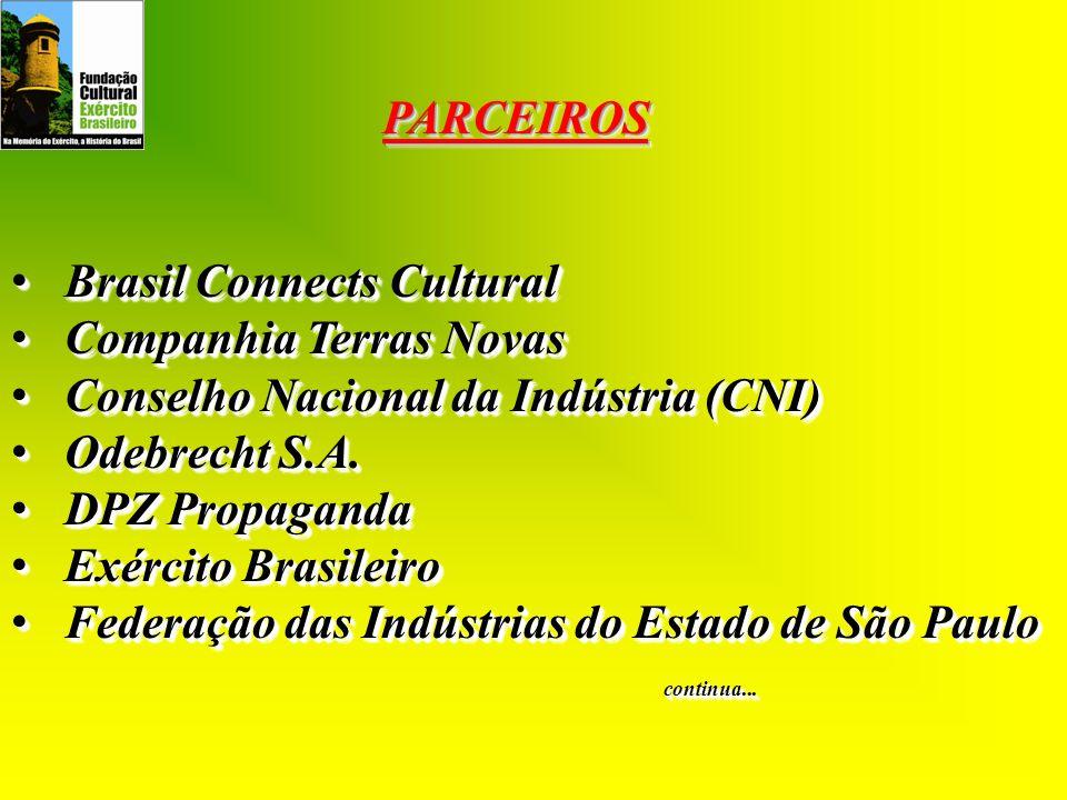 PARCEIROSPARCEIROS Brasil Connects Cultural Brasil Connects Cultural Companhia Terras Novas Companhia Terras Novas Conselho Nacional da Indústria (CNI