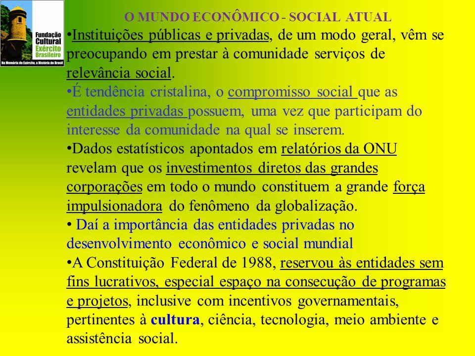 O MUNDO ECONÔMICO - SOCIAL ATUAL Instituições públicas e privadas, de um modo geral, vêm se preocupando em prestar à comunidade serviços de relevância