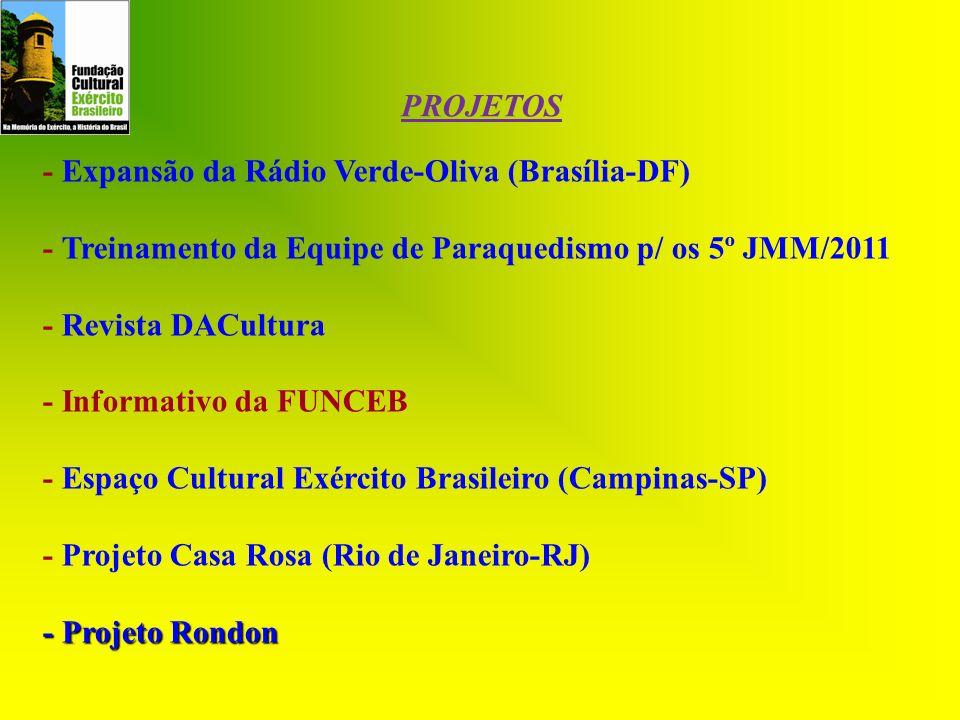 - Expansão da Rádio Verde-Oliva (Brasília-DF) - Treinamento da Equipe de Paraquedismo p/ os 5º JMM/2011 - Revista DACultura - Informativo da FUNCEB -
