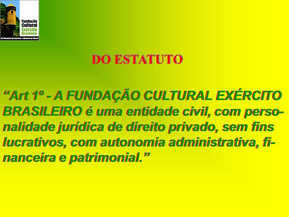 DO ESTATUTO Art 1º - A FUNDAÇÃO CULTURAL EXÉRCITO BRASILEIRO é uma entidade civil, com perso- nalidade jurídica de direito privado, sem fins lucrativo