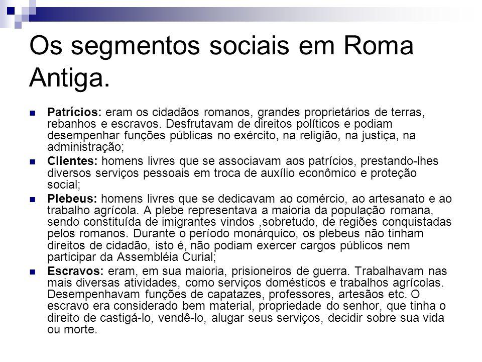 Patrícios: eram os cidadãos romanos, grandes proprietários de terras, rebanhos e escravos. Desfrutavam de direitos políticos e podiam desempenhar funç