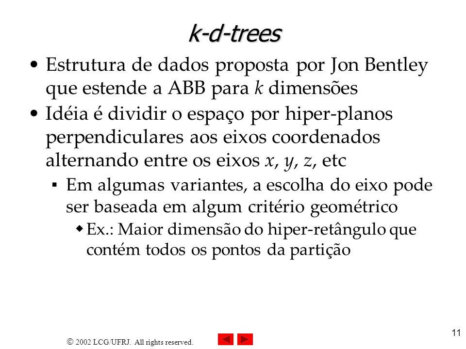 2002 LCG/UFRJ. All rights reserved. 11 k-d-trees Estrutura de dados proposta por Jon Bentley que estende a ABB para k dimensões Idéia é dividir o espa