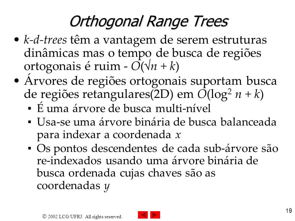 2002 LCG/UFRJ. All rights reserved. 19 Orthogonal Range Trees k-d-trees têm a vantagem de serem estruturas dinâmicas mas o tempo de busca de regiões o