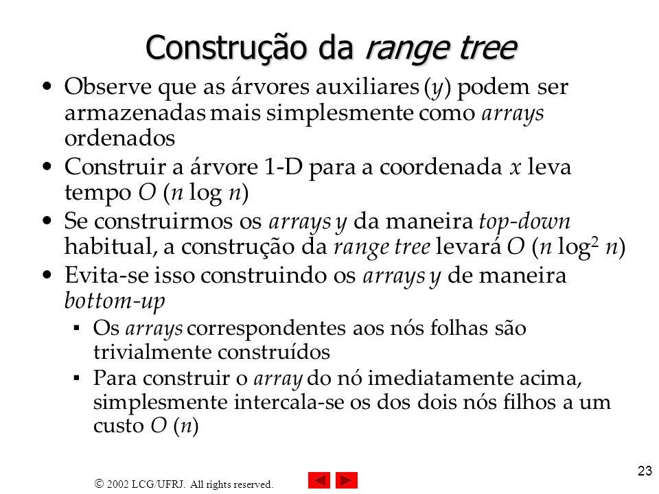 2002 LCG/UFRJ. All rights reserved. 23 Construção da range tree Observe que as árvores auxiliares (y) podem ser armazenadas mais simplesmente como arr