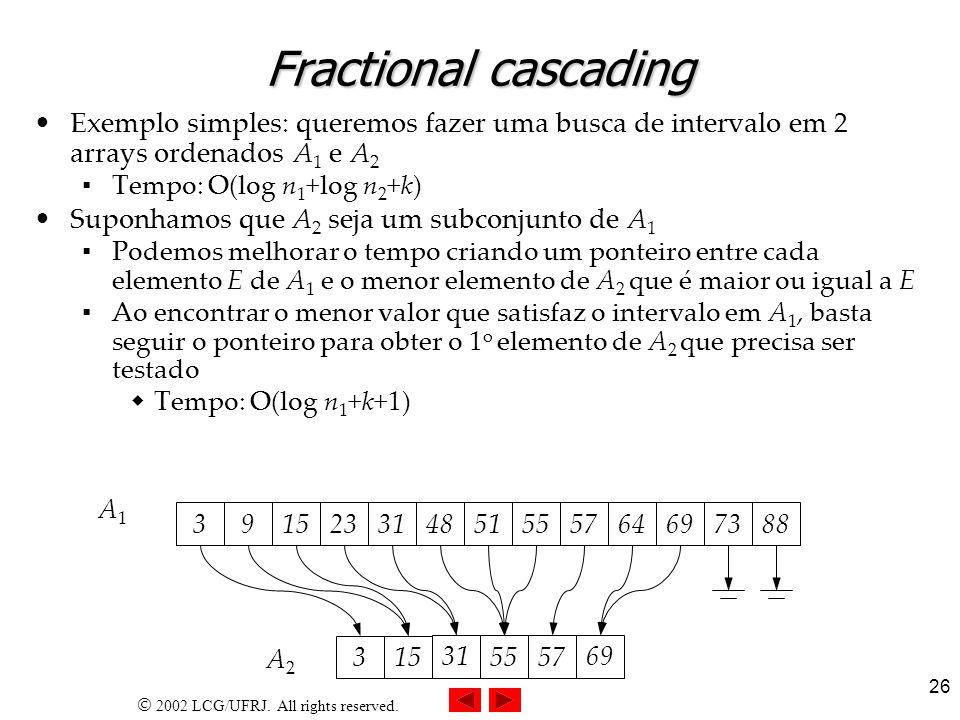 2002 LCG/UFRJ. All rights reserved. 26 Fractional cascading Exemplo simples: queremos fazer uma busca de intervalo em 2 arrays ordenados A 1 e A 2 Tem