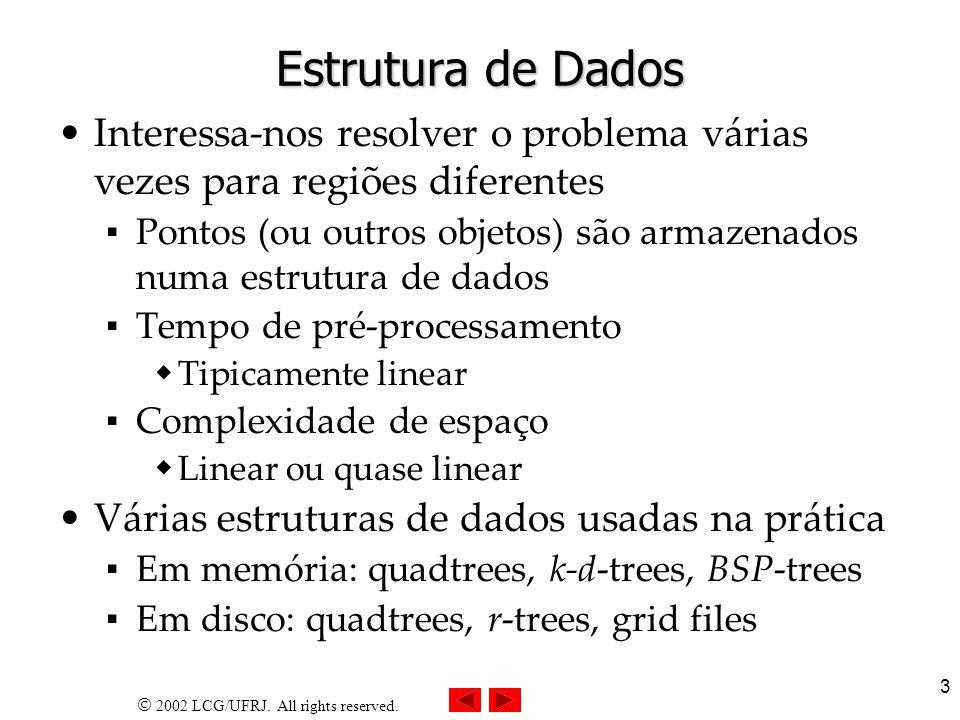 2002 LCG/UFRJ. All rights reserved. 3 Estrutura de Dados Interessa-nos resolver o problema várias vezes para regiões diferentes Pontos (ou outros obje