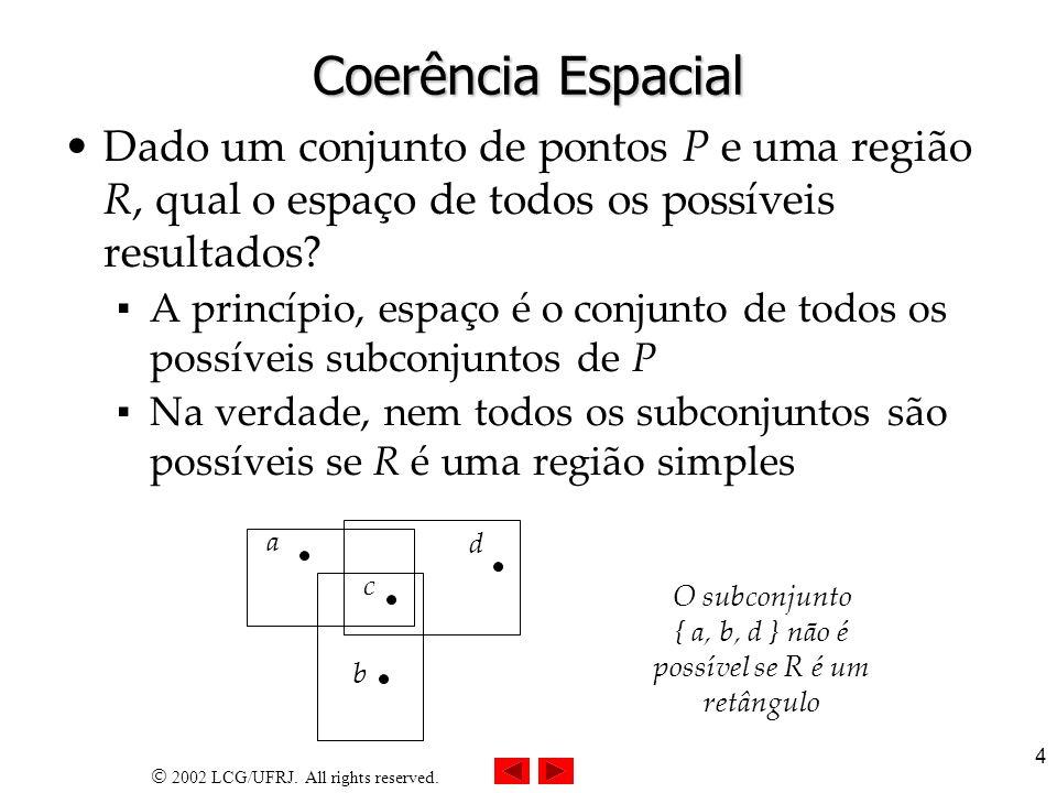 2002 LCG/UFRJ. All rights reserved. 4 Coerência Espacial Dado um conjunto de pontos P e uma região R, qual o espaço de todos os possíveis resultados?