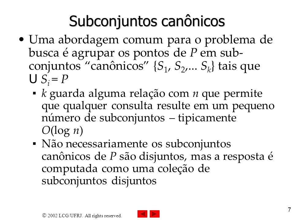 2002 LCG/UFRJ. All rights reserved. 7 Subconjuntos canônicos Uma abordagem comum para o problema de busca é agrupar os pontos de P em sub- conjuntos c