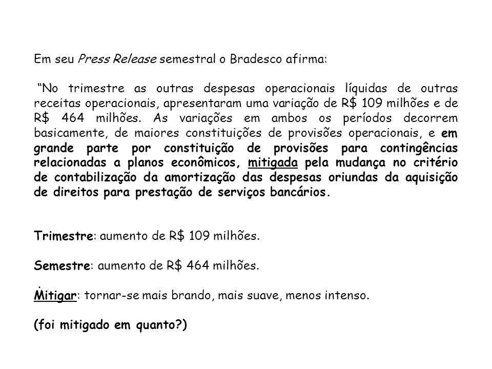 Em seu Press Release semestral o Bradesco afirma: No trimestre as outras despesas operacionais líquidas de outras receitas operacionais, apresentaram