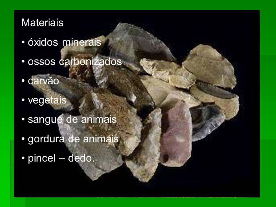 Materiais óxidos minerais ossos carbonizados carvão vegetais sangue de animais gordura de animais pincel – dedo.