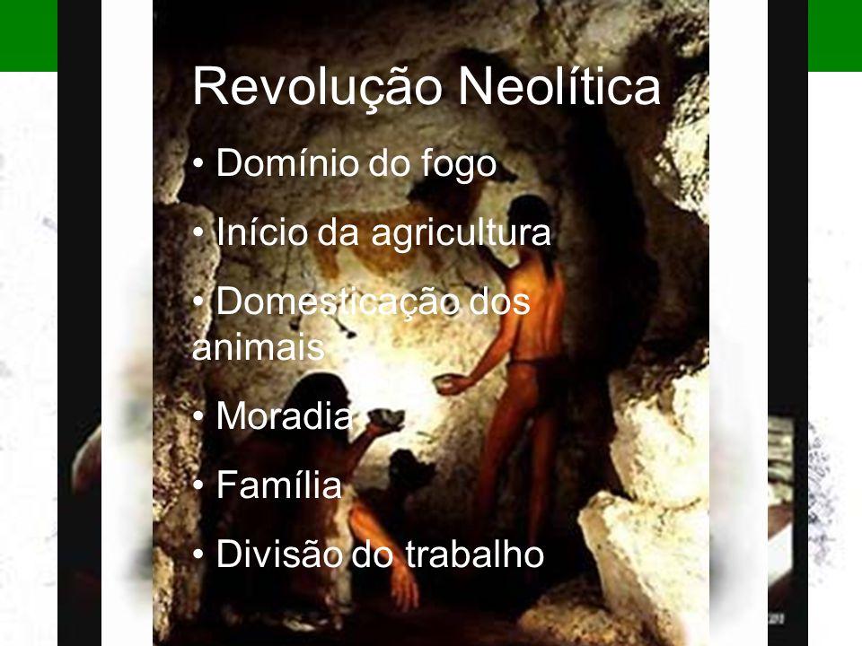Revolução Neolítica Domínio do fogo Início da agricultura Domesticação dos animais Moradia Família Divisão do trabalho