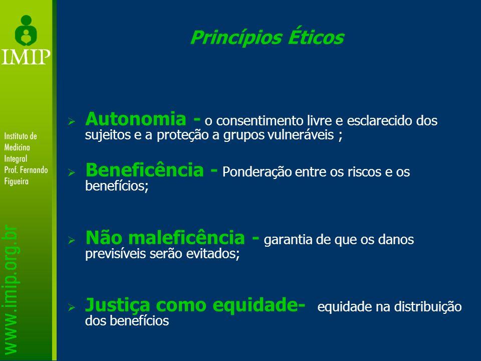 Princípios Éticos Autonomia - o consentimento livre e esclarecido dos sujeitos e a proteção a grupos vulneráveis ; Beneficência - Ponderação entre os