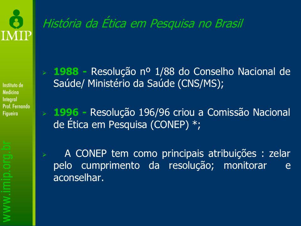 História da Ética em Pesquisa no Brasil 1988 - Resolução nº 1/88 do Conselho Nacional de Saúde/ Ministério da Saúde (CNS/MS); 1996 - Resolução 196/96