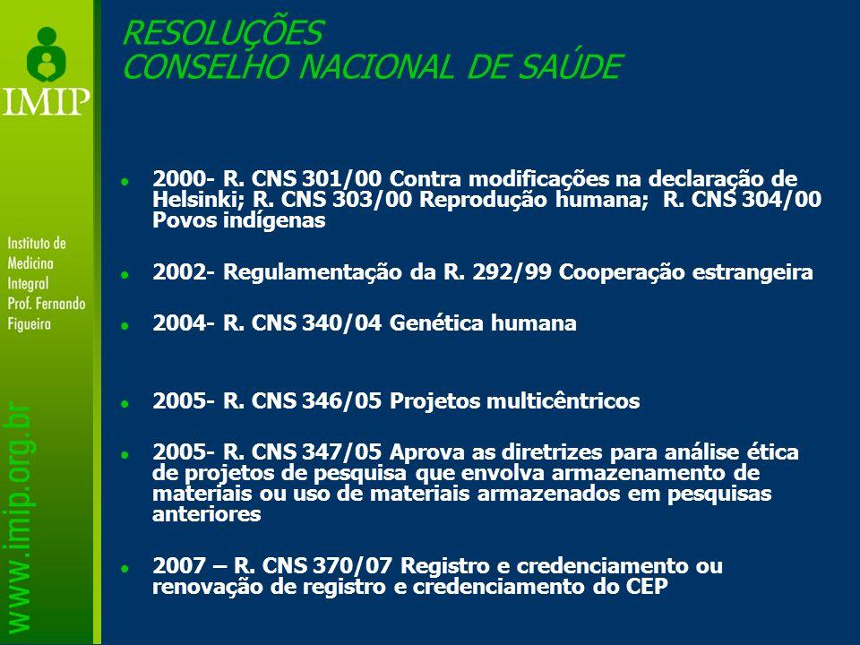 2000- R. CNS 301/00 Contra modificações na declaração de Helsinki; R. CNS 303/00 Reprodução humana; R. CNS 304/00 Povos indígenas 2002- Regulamentação