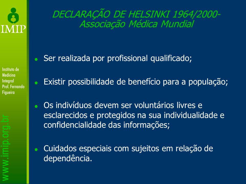 DECLARAÇÃO DE HELSINKI 1964/2000- Associação Médica Mundial Ser realizada por profissional qualificado; Existir possibilidade de benefício para a popu