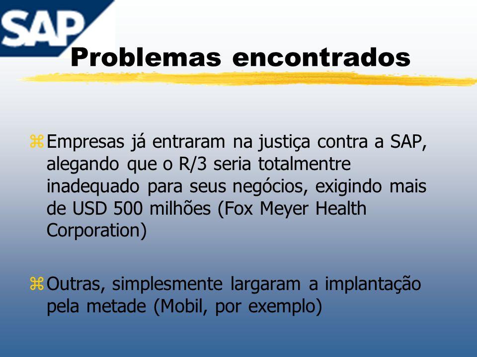 Problemas encontrados zEmpresas já entraram na justiça contra a SAP, alegando que o R/3 seria totalmentre inadequado para seus negócios, exigindo mais