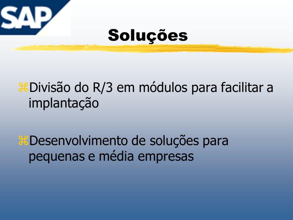 Soluções zDivisão do R/3 em módulos para facilitar a implantação zDesenvolvimento de soluções para pequenas e média empresas