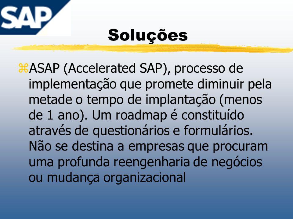 Soluções zASAP (Accelerated SAP), processo de implementação que promete diminuir pela metade o tempo de implantação (menos de 1 ano). Um roadmap é con