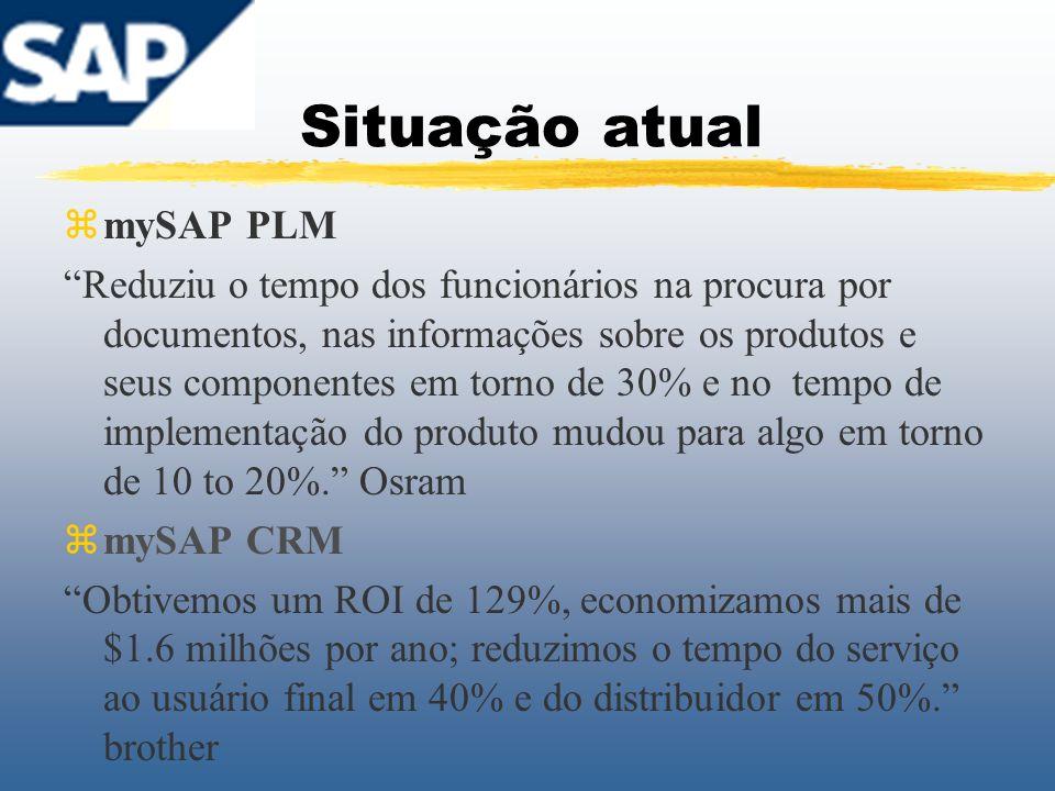 Situação atual zmySAP PLM Reduziu o tempo dos funcionários na procura por documentos, nas informações sobre os produtos e seus componentes em torno de