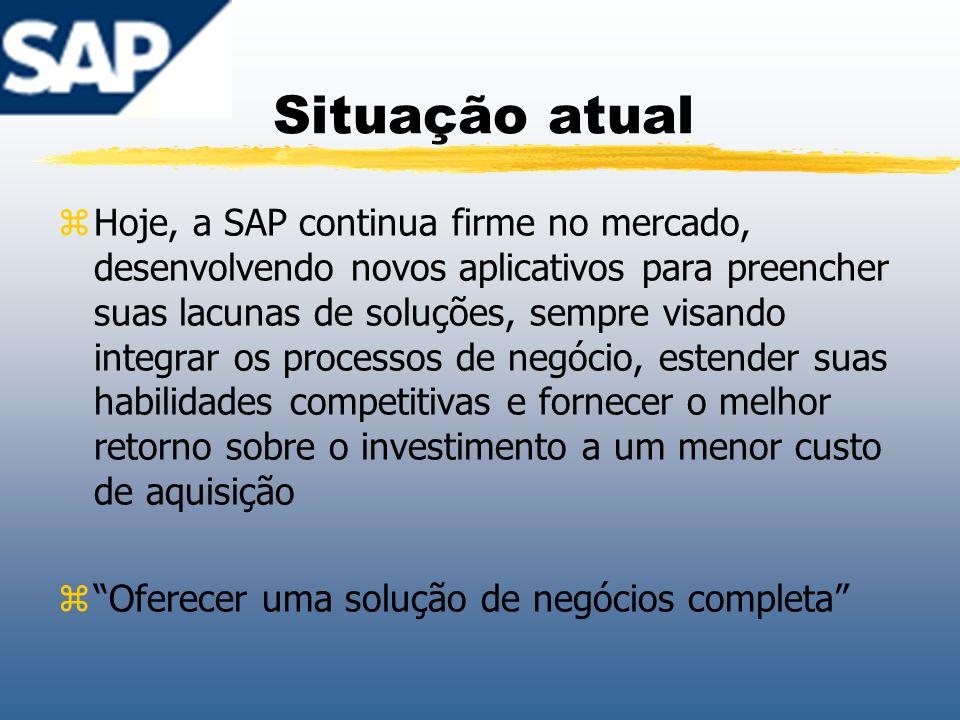 Situação atual zHoje, a SAP continua firme no mercado, desenvolvendo novos aplicativos para preencher suas lacunas de soluções, sempre visando integra
