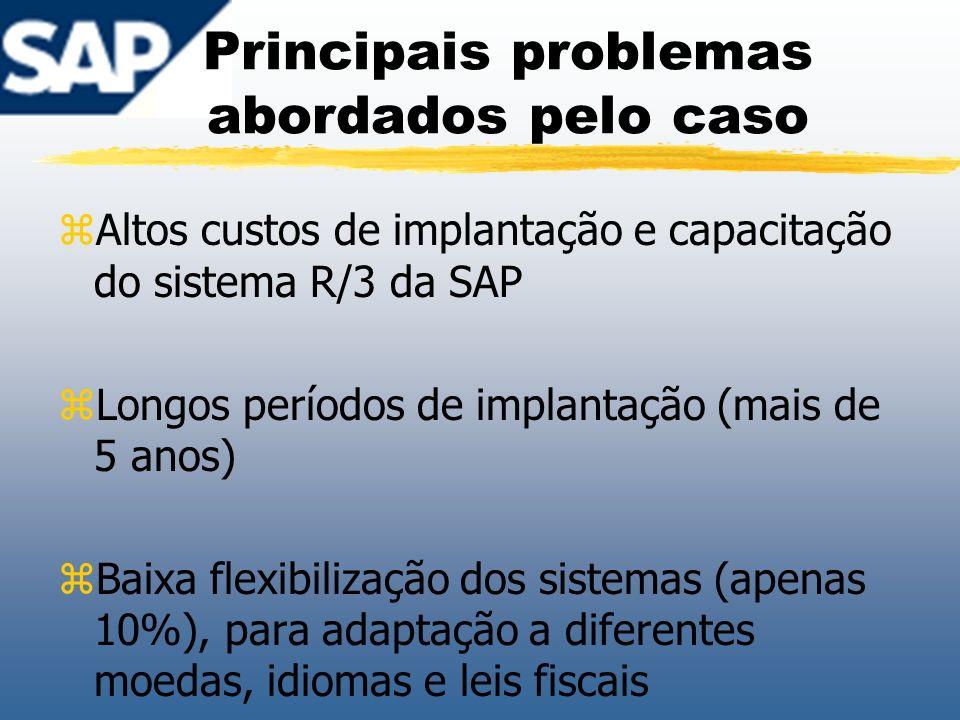 Principais problemas abordados pelo caso zAltos custos de implantação e capacitação do sistema R/3 da SAP zLongos períodos de implantação (mais de 5 a