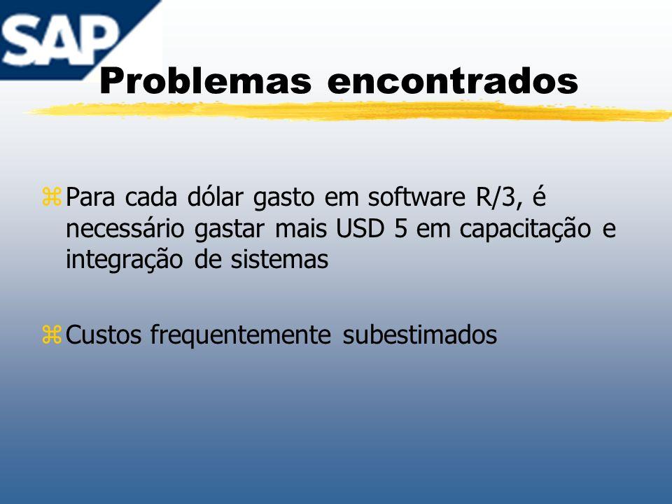 Problemas encontrados zPara cada dólar gasto em software R/3, é necessário gastar mais USD 5 em capacitação e integração de sistemas zCustos frequente