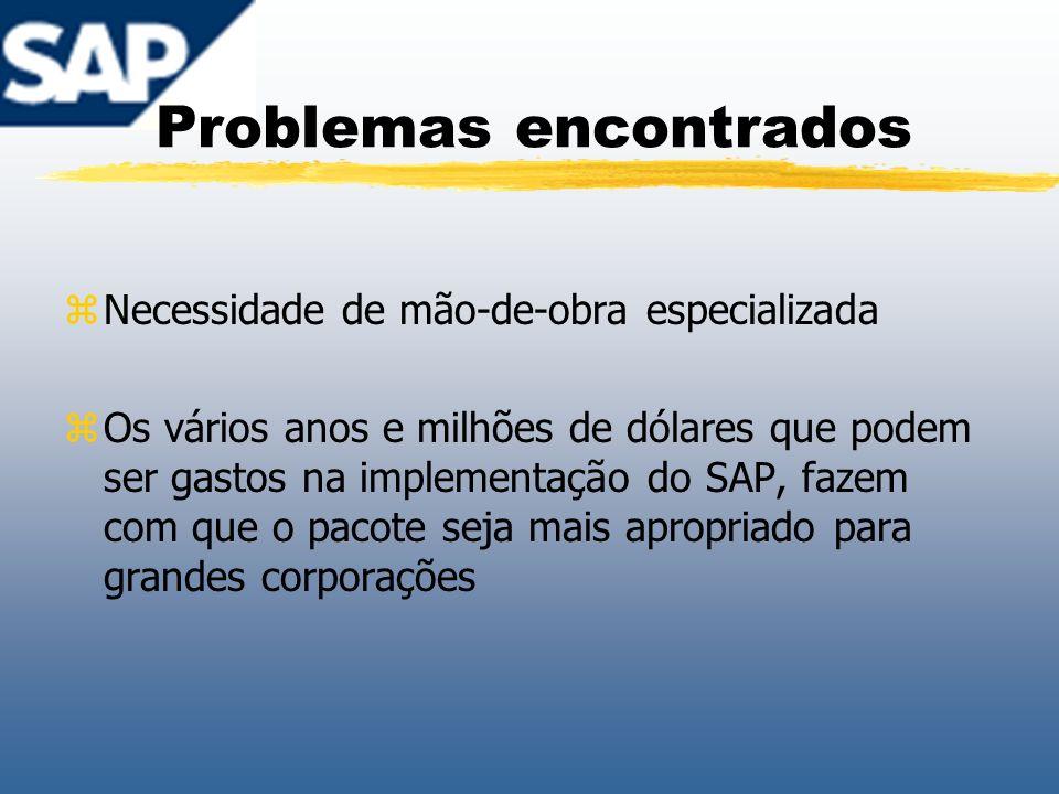 Problemas encontrados zNecessidade de mão-de-obra especializada zOs vários anos e milhões de dólares que podem ser gastos na implementação do SAP, faz