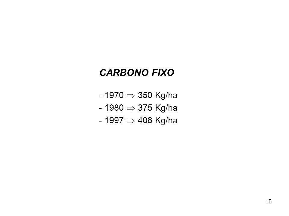 15 CARBONO FIXO - 1970 350 Kg/ha - 1980 375 Kg/ha - 1997 408 Kg/ha