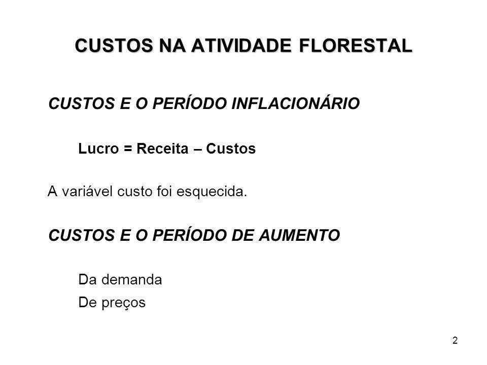 2 CUSTOS NA ATIVIDADE FLORESTAL CUSTOS E O PERÍODO INFLACIONÁRIO Lucro = Receita – Custos A variável custo foi esquecida.