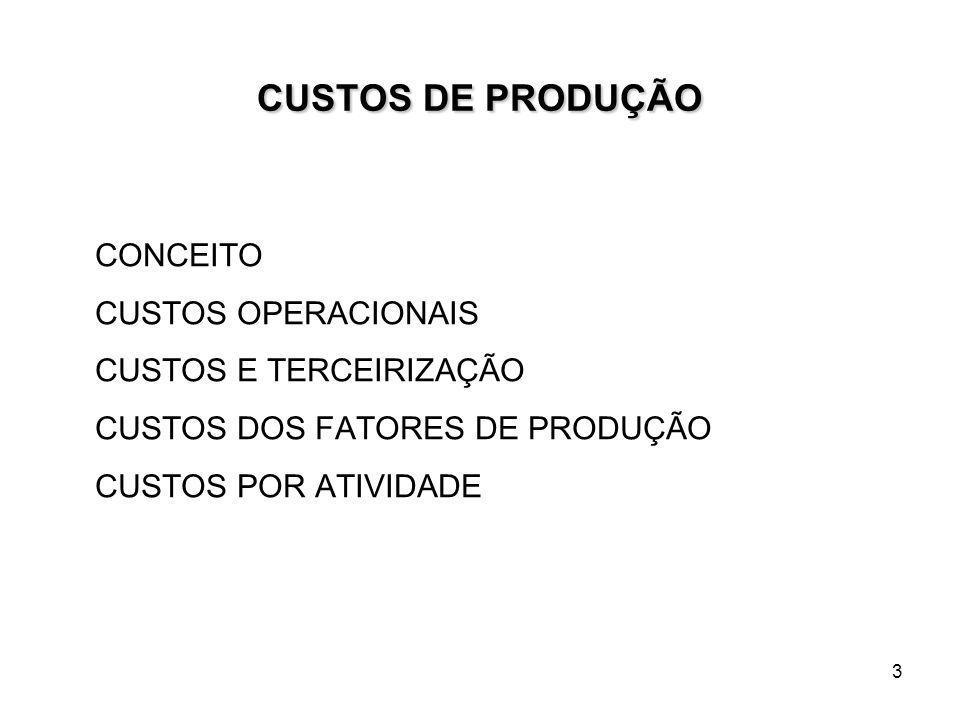 4 CUSTOS NA ATIVIDADE FLORESTAL CUSTO POR FATOR DE PRODUÇÃO CUSTO POR ATIVIDADE