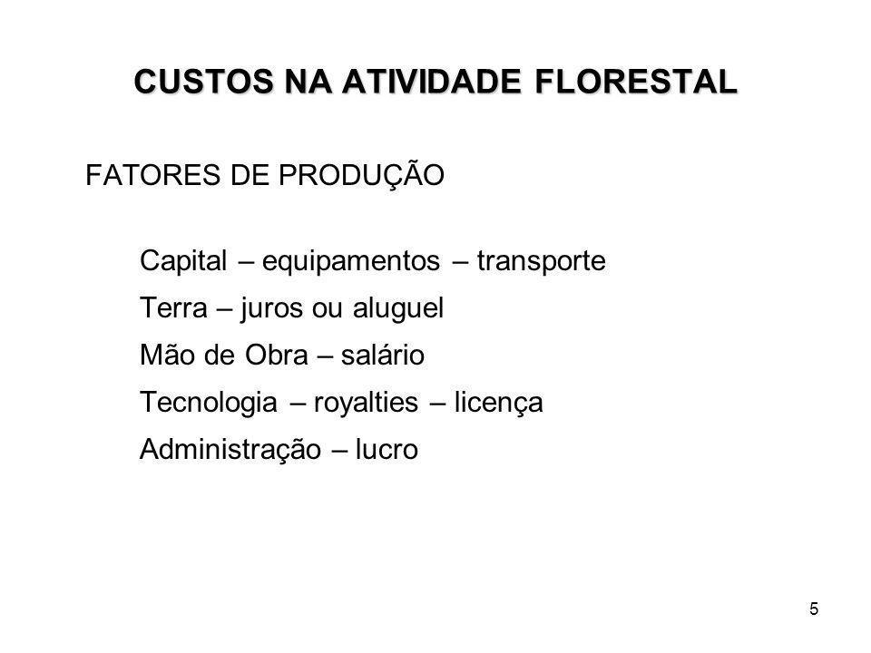 5 CUSTOS NA ATIVIDADE FLORESTAL FATORES DE PRODUÇÃO Capital – equipamentos – transporte Terra – juros ou aluguel Mão de Obra – salário Tecnologia – ro